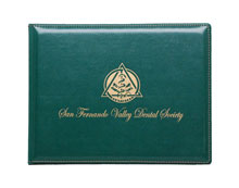 gold foil imprinting on sealed and sewn premium vinyl diploma holder