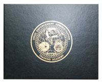 black leatherette certificate holder with gold foil imprinting