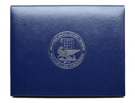 silver foil imprinting on a navy blue leatherette certificate holder