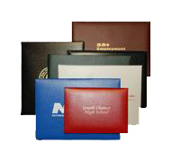diploma covers in various colors sizes and materials